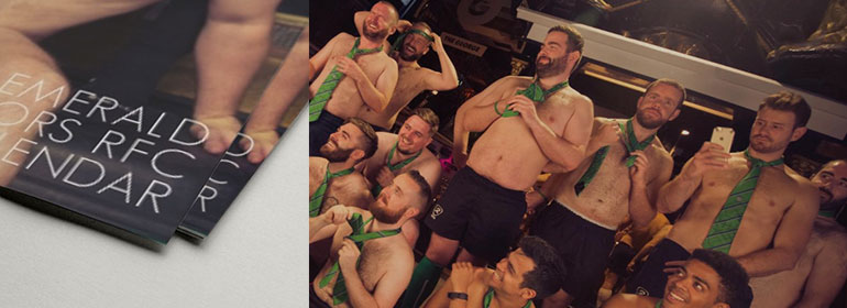 The Emerald Warriors 2017 Rugby Calendar and the players posing topless with green ties