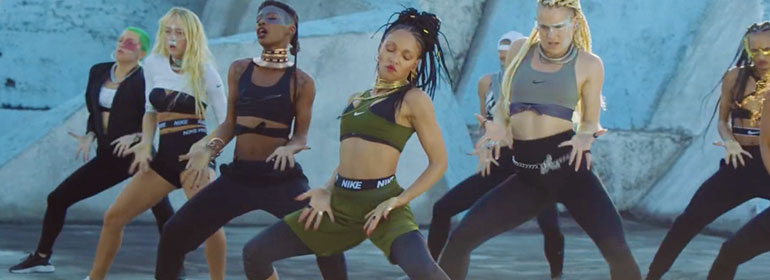 FKA twigs and dancers in a new Nike video featured in today's Cuppán Gay