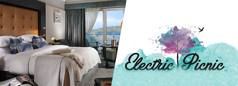 A picture of a luxury getaway hotel bed and the electric picnic logo