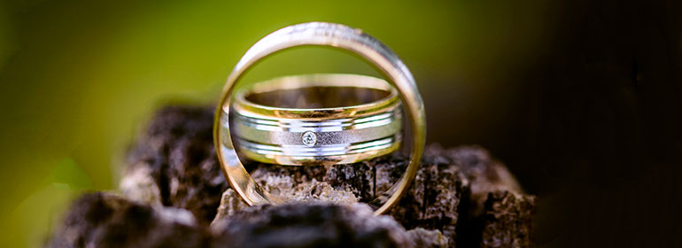 Two wedding rings made of gold and silver on wood with a green background, which are symbolic of the top irish LGBT weddings suppliers and venues