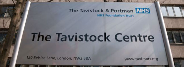 A sign for the tavistock centre in the UK, a service that Irish trans youth avail of