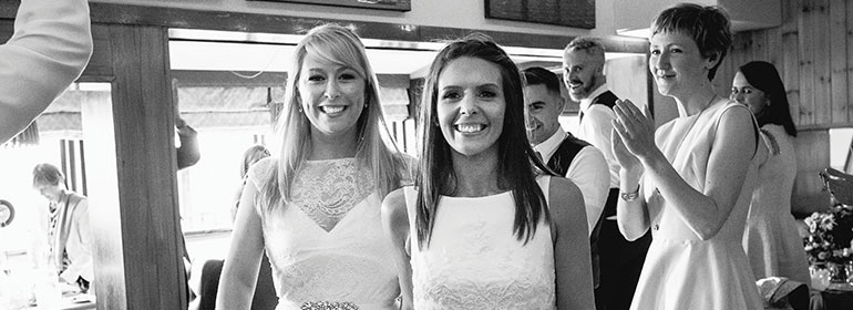 Jenny greene and her wife on their wedding day