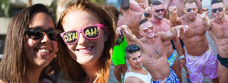 Two women on the left in sunglasses, and muscled men on the right, both at one of the top ten queer travel events of 2017