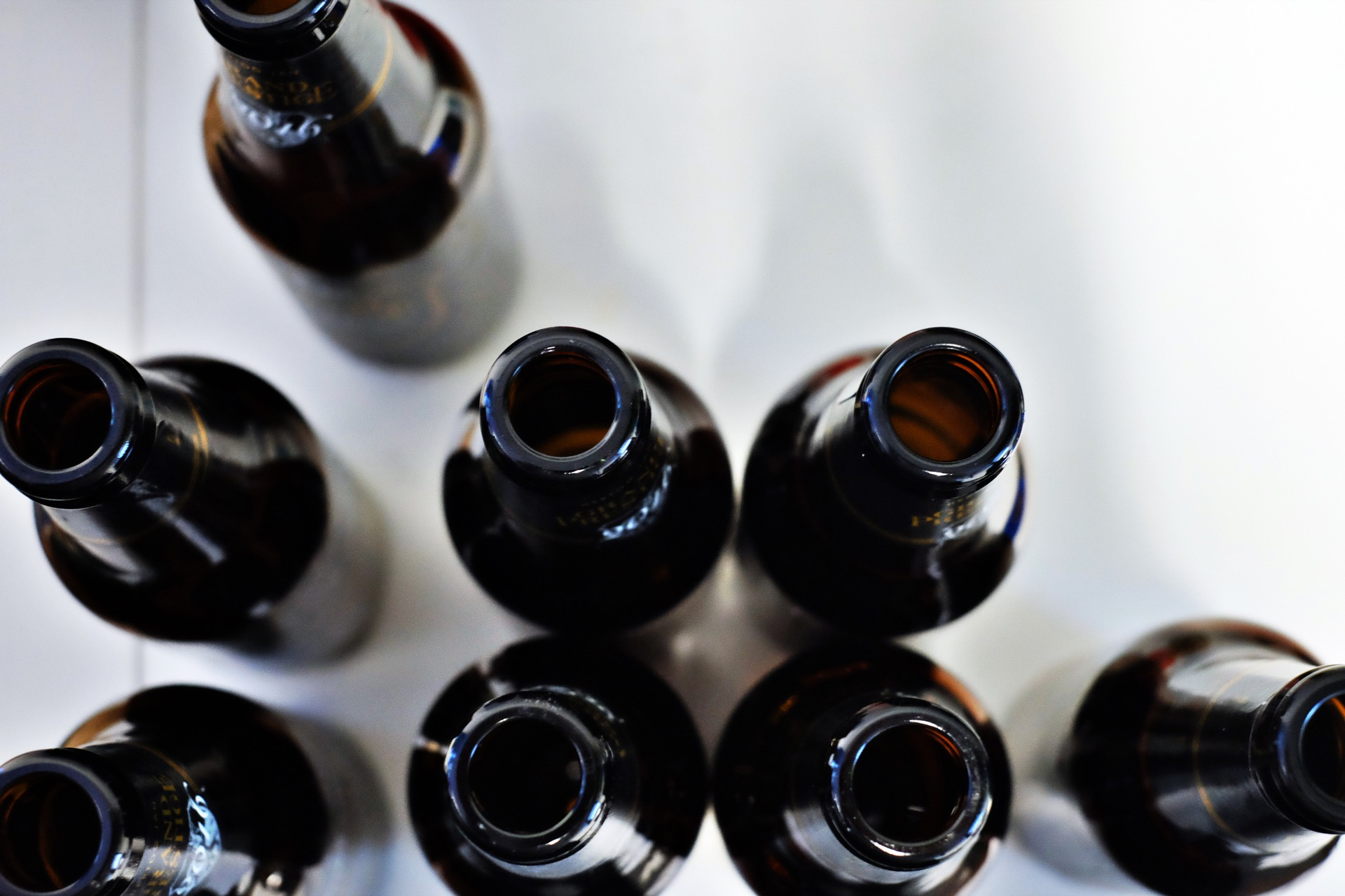 Empty beer bottles to represent cutting back on alcohol, one of Andy Kane's new year's resolutions