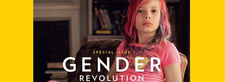 A trans girl with the words gender revolution written in front of her pink clothes for today's Cuppán Gay