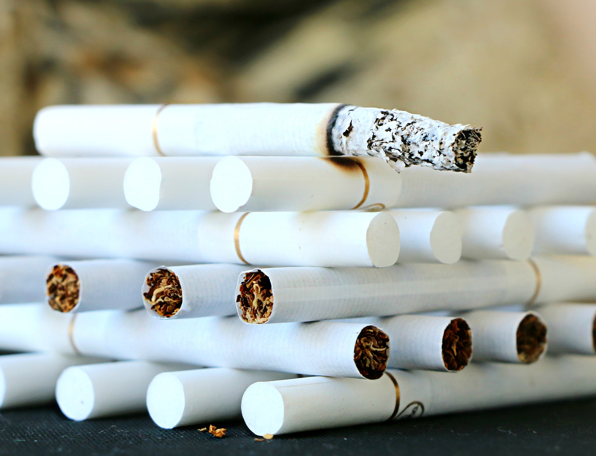 Cigarettes lined up like jenga blocks, to symbolise Andy Kane's new year's resolution to cut back on smoking