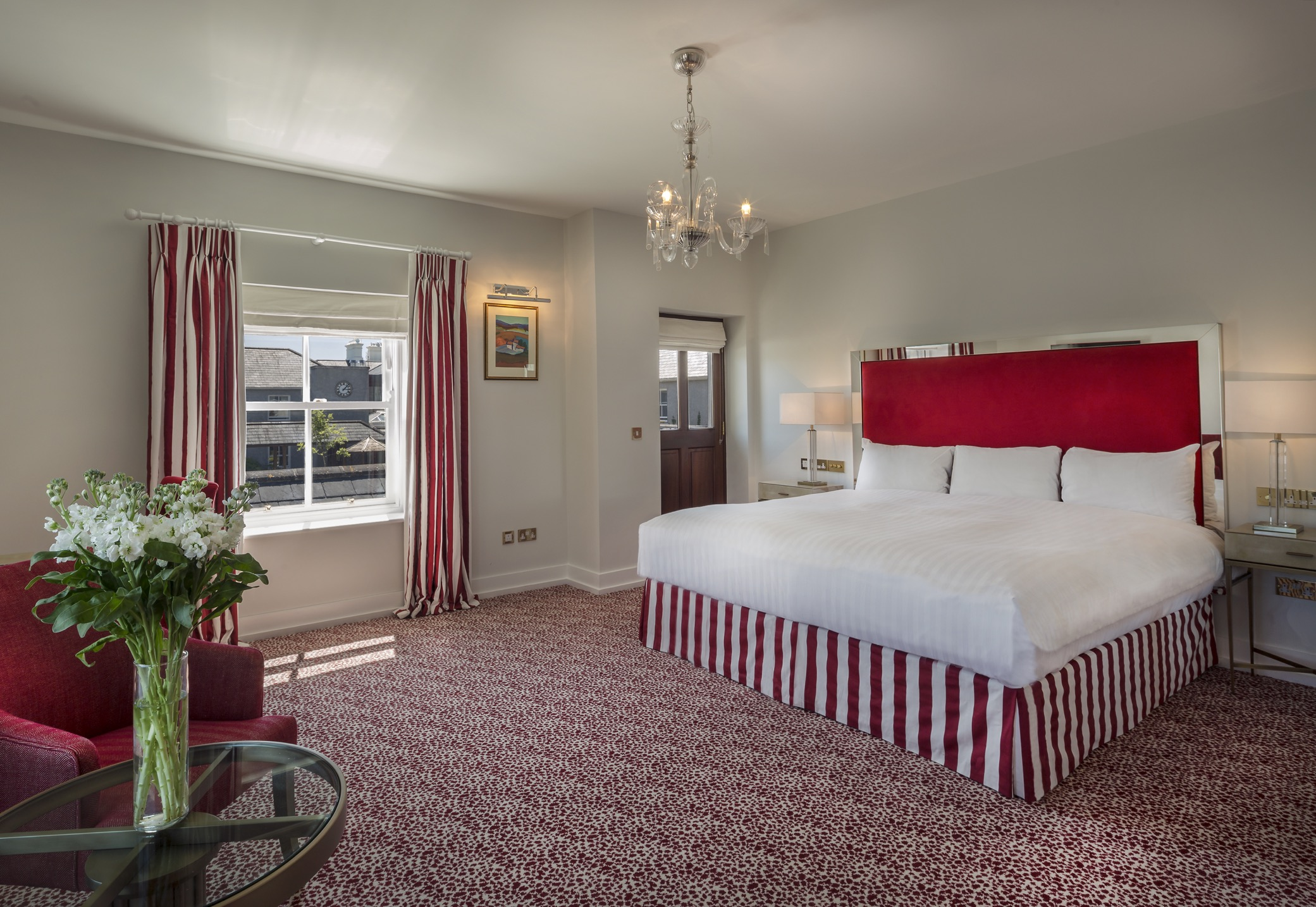 A modern looking hotel room at the lodge at ashford castle where if you book a wedding you could win a luxury cruise
