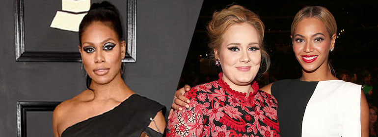 Laverne Cox, Adele and Beyonce at the Grammys in today's Cuppán Gay