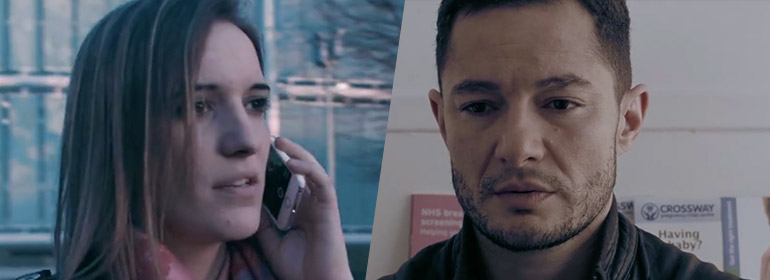 A trans woman holding a phone and a trans man looking worried from one of the videos in today's Cuppán Gay.