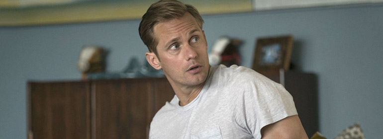Alexander Skarsgard who is in today's Cuppán Gay in a white t-shirt