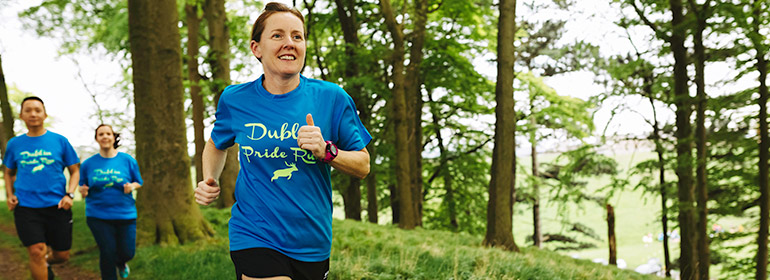 A person running because she signed up to Dublin Front Runners' Couch To 5K program