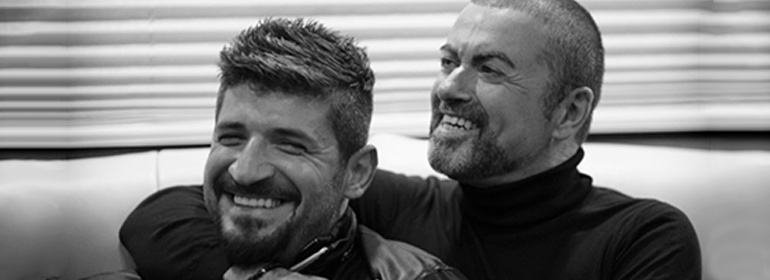 Fadi Fawaz and George Michael smiling in a black and white photo, which is one of the stories in today's Cuppán Gay