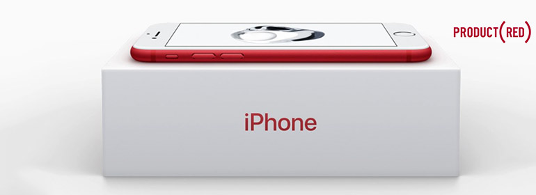 Apple's new Product Red iPhone on top of an iPhone box, the announcement of which is one of the stories in today's Cuppán Gay