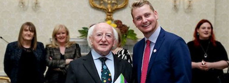President Higgins and Broden Giambrone the outgoing Chief Executive of TENI