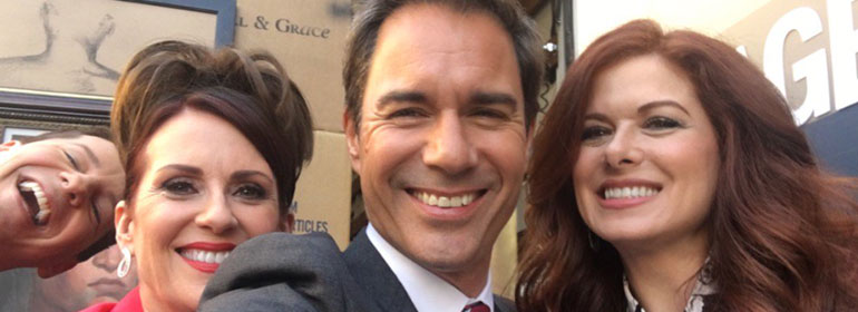 The cast of will and grace smiling which is one the stories in today's Cuppán Gay