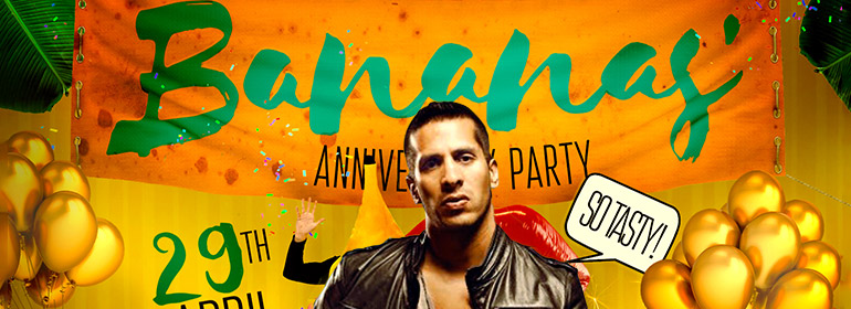 Bananas anniversary part banner with a man in a leather jacket in front of it