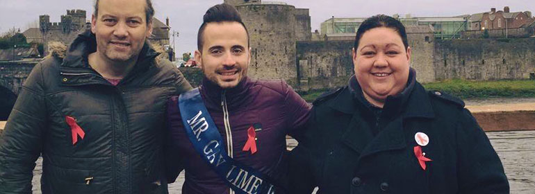 Mr Gay Limerick wearing a red ribbon and his sash who has written an open letter about Chechnya