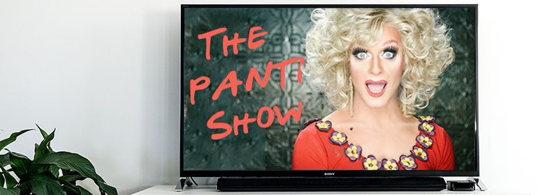 A TV with The Panti Show written on it and picture of Panti Bliss who is writing her own TV show