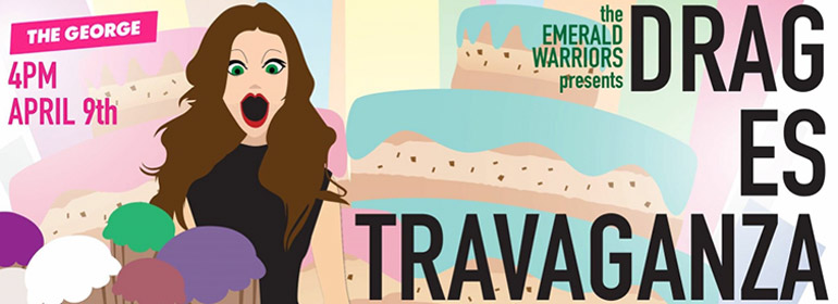 A drag queen with baked goods around her on the Dragestravaganza poster for the Emerald Warriors event this Sunday