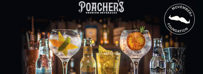 Poachers G&T tasting at Pantibar with cocktail glasses and Poacher's tonic which will raise money for Movember