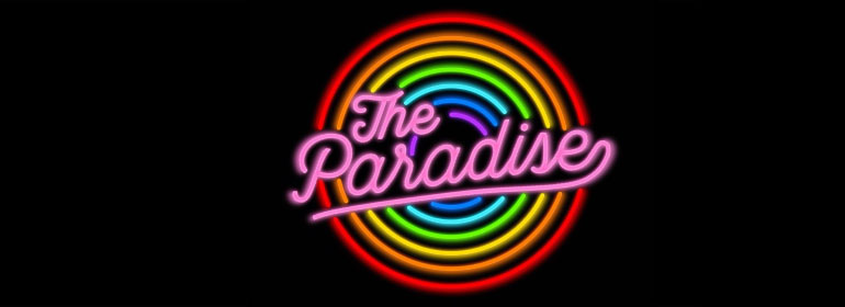 The Paradise written in neon colours