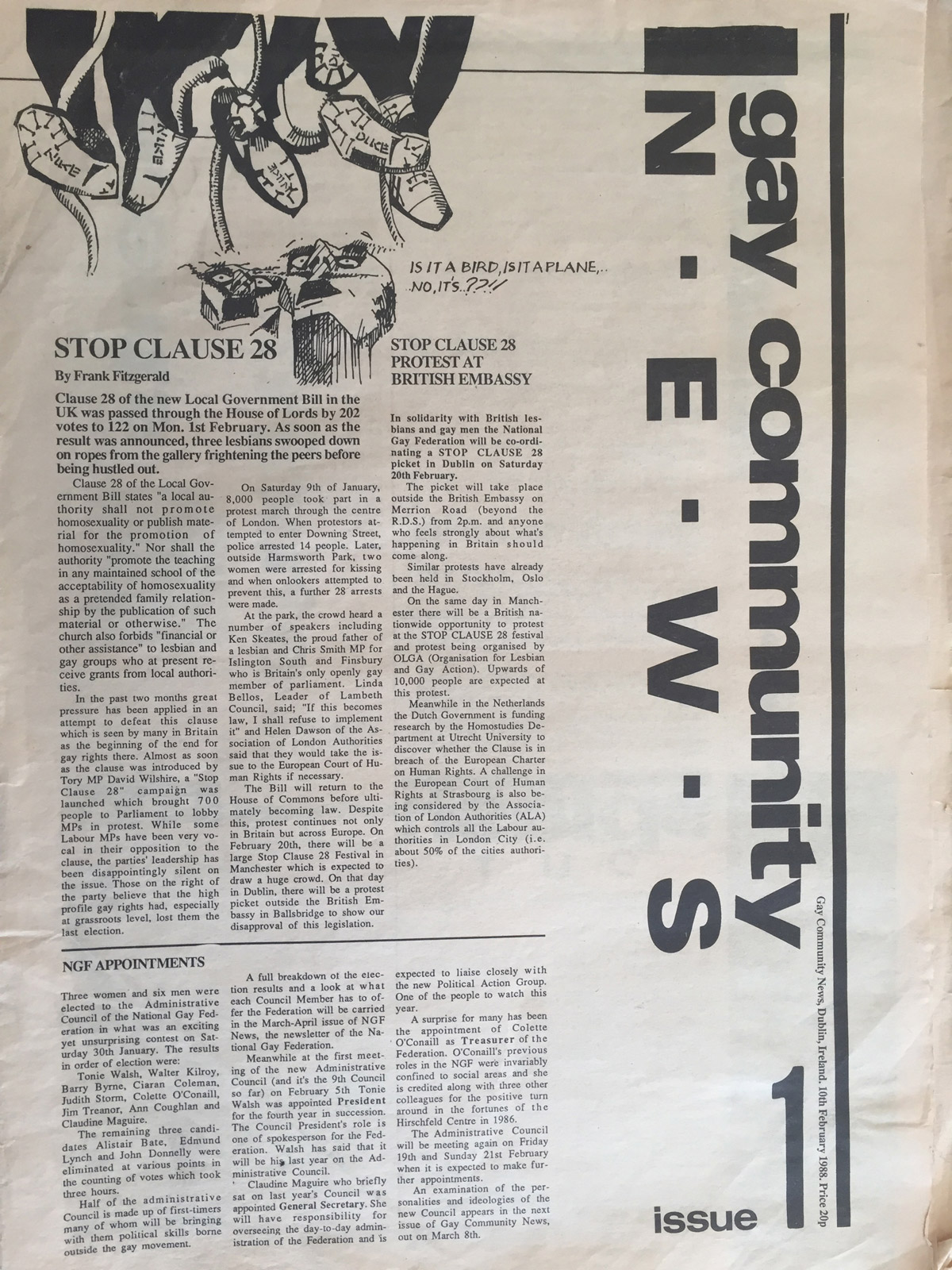 The first 1988 Issue in the Evolution of GCN, Ireland's National LGBT Publication with the words Gay Community News on the cover