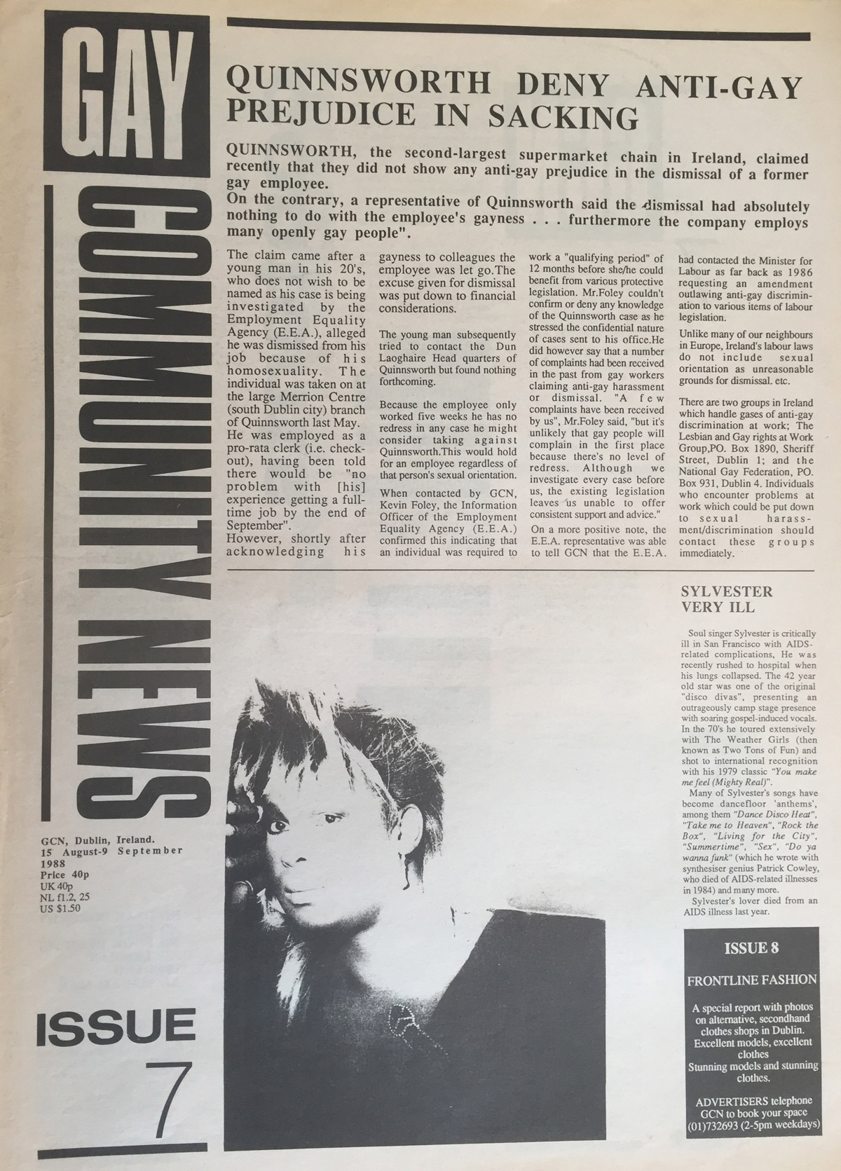 The 1988 Issue in the Evolution of GCN, Ireland's National LGBT Publication with images and words on the cover