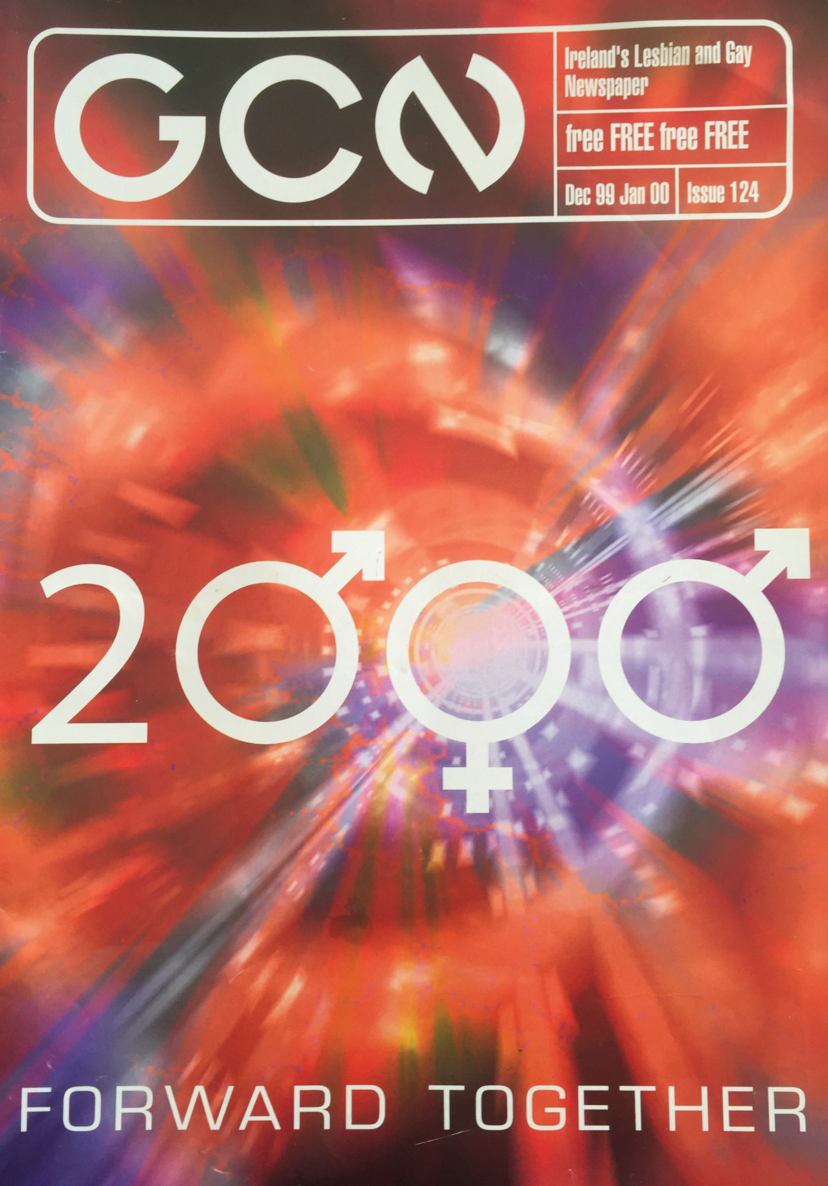 The 1999 Issue in the Evolution of GCN, Ireland's National LGBT Publication with the number 2000 on the cover and a swirl of red and purple