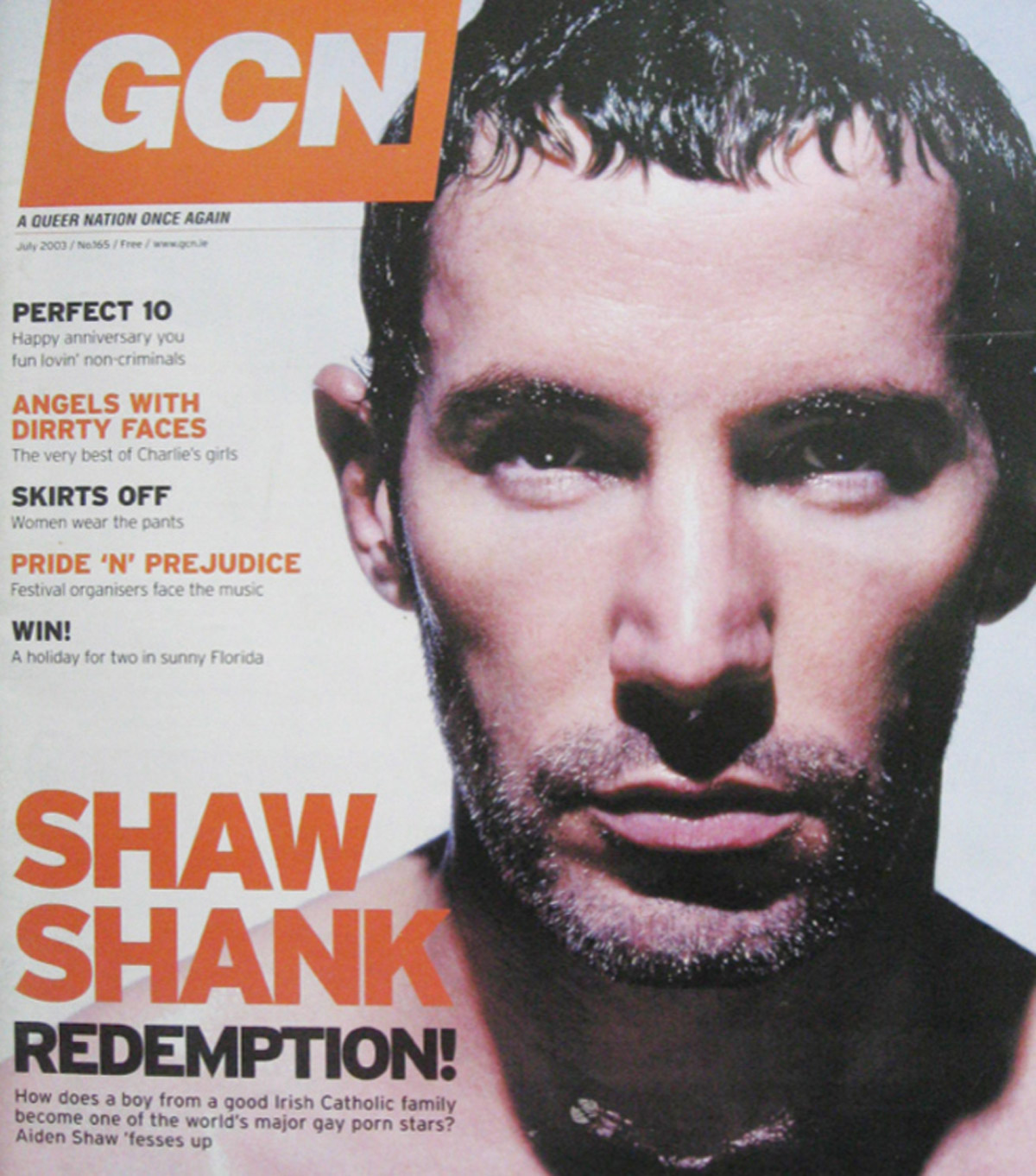 The 2003 Issue in the Evolution of GCN, Ireland's National LGBT Publication with Aiden Shaw on the cover and the words Shaw Shank Redemption