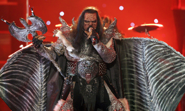 Lordi's singer dressed with wings and demonic make-up which is one of the costume ideas for GCN's Eurovision Douze Points Party