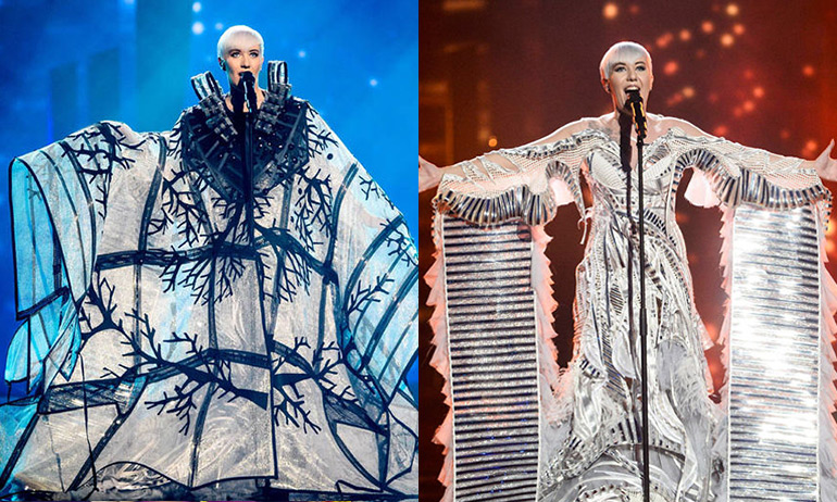 A woman wearing a giant black and white dress with a costume reveal on the right hand side which is one of the costume ideas for GCN's Eurovision Douze Points Party