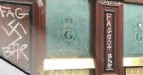 The George Dublin vandalized with swastikas