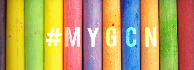 Multicoloured book spines with the hashtag #MyGCN written on it to symbolise the ongoing relationship that LGBT people in Ireland have with GCN in a post-Marriage Equality world