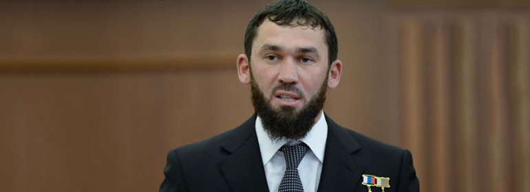 the speaker of the parliament in Chechnya in a suit