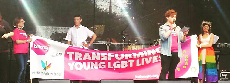 Wet and Wild have raised over €1400 for Belong To the LGBT organisation pictured here with a banner saying transforming young lives