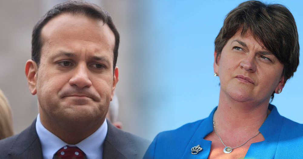 Leo Varadkar and DUP leader Arlene Foster side by side not seeing eye to eye on same-sex marriage