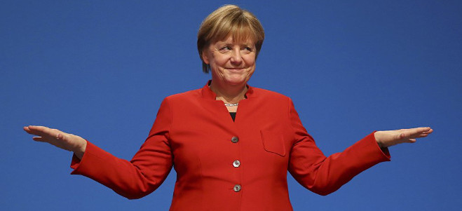 angela merkel in a red jacket with arms outstretch at a 90 degree angle, palms facing upwards