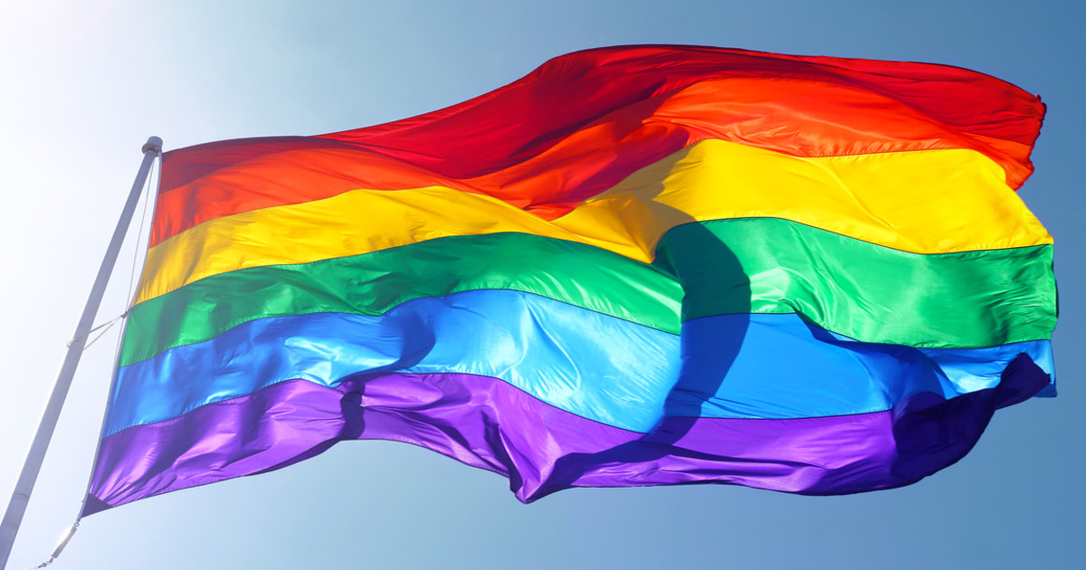 Pride flag blown by the wind