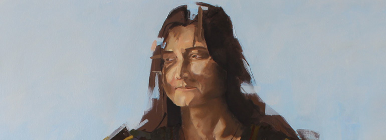 An artwork by Stephen Doyle showcasing a Russian woman looking sad