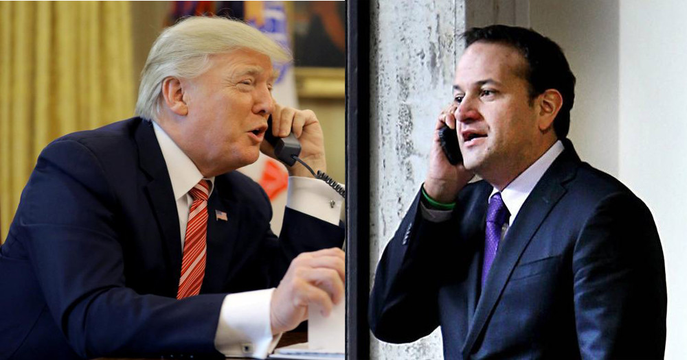 donald trump, right facing against a separate image of leo varadkar, left facing, both speaking on the phone