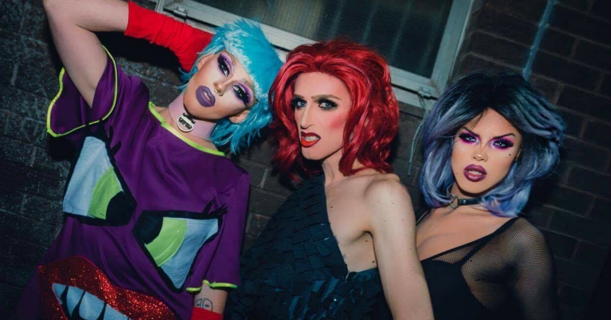 Drag Queens performers Veda and the witches posing for the camera