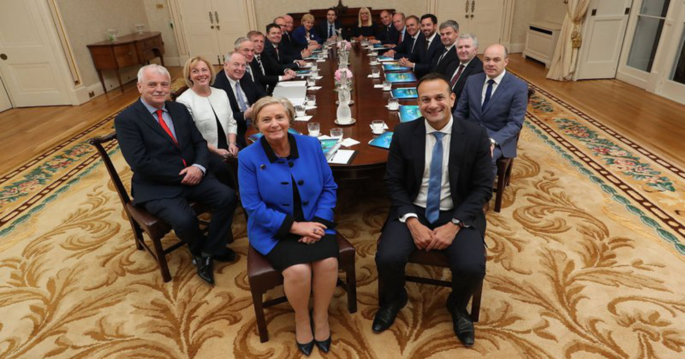Leo Varadkar sitting with members of his cabinets