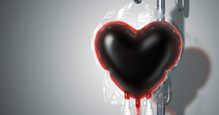a blood bag shaped like a heart filled with blood
