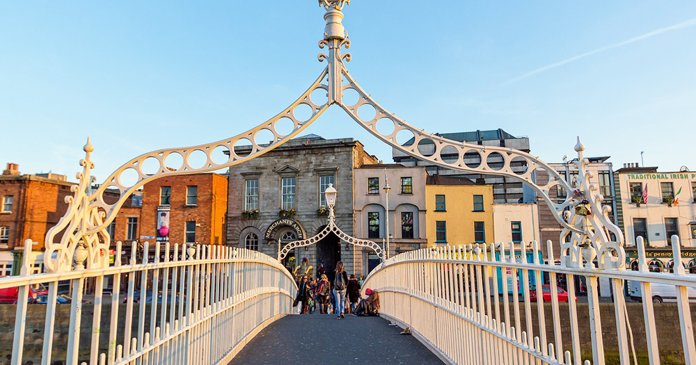 Dublin city's Ha'penny bridge which ranked 26 in the top 100 lgbt cities