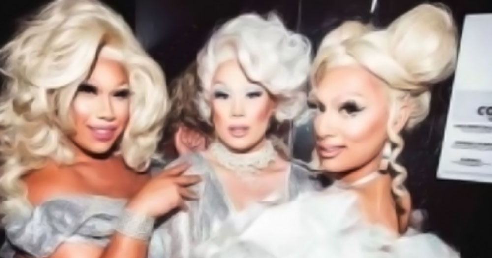 Three drag queens who save a man from a homophobic attack wearing blonde wigs and silver dresses
