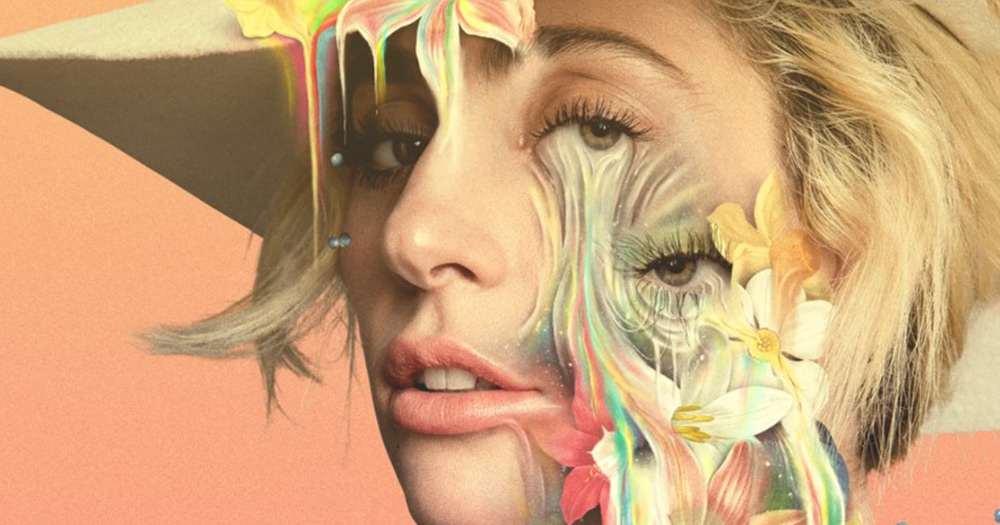 Lady Gaga with an oil painting surrealist artwork over her face as she announces a new netflix documentary