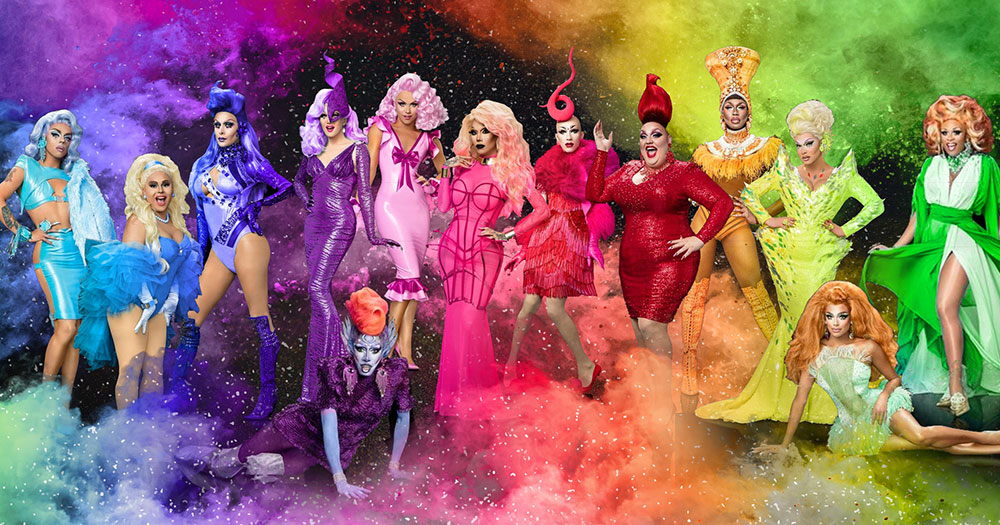 The queens from RuPaul's Drag Race season nine in rainbow coloured outfits
