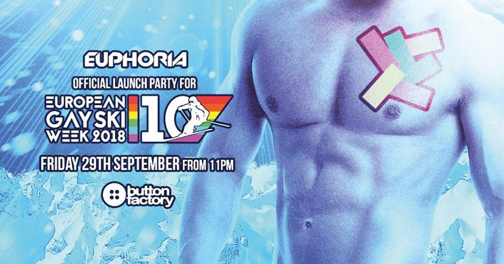 The poster for Euphoria's european gay ski week launch party which features a topless muscled torso