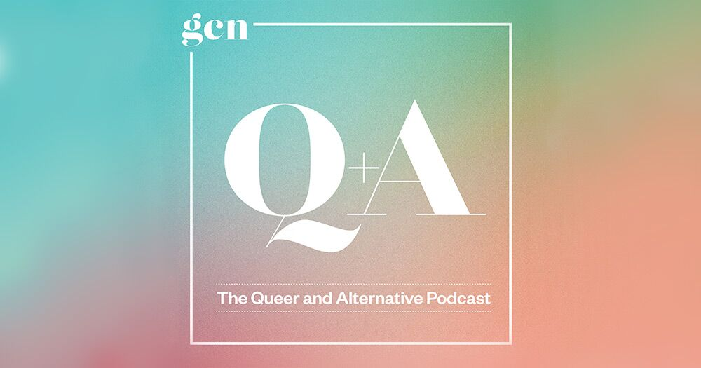 GCN presents Q+A the queer and alternative podcast written within a box on a paster gradient