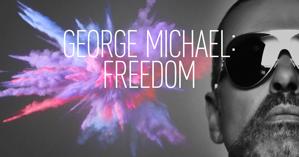 George Michael: Freedom poster with the singer wearing sunglasses and a burst of colour to his left